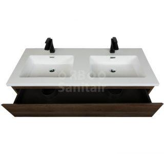 Badkamermeubel Vakna 120 cm donker eiken hoogglans wit lade open