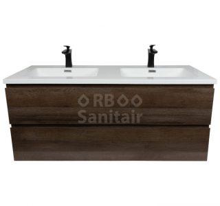 Badkamermeubel Vakna 120 cm donker eiken hooglans wit vooraanzicht