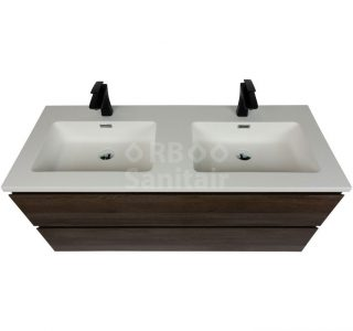 Badkamermeubel Vakna 120 cm donker eiken mat wit bovenaanzicht
