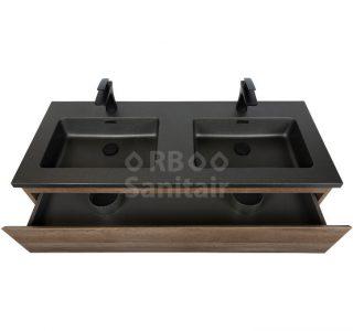 Badkamermeubel Vakna 120 cm Donker eiken mat zwart lade open