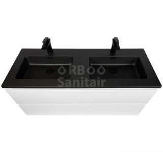 Badkamermeubel Vakna 120 cm Hoogglans wit met wastafel mat zwart bovenaanzicht