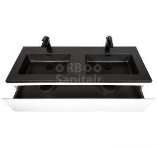 Badkamermeubel Vakna 120 cm Hoogglans wit met wastafel mat zwart lade open