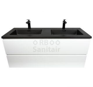 Badkamermeubel Vakna 120 cm Hoogglans wit met wastafel mat zwart vooraanzicht