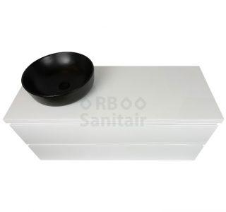 Badkamermeubel Vakna 120 cm hoogglans wit topblad bovenaanzicht
