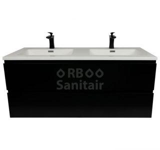 Badkamermeubel Vakna 120 cm mat zwart mat wit vooraanzicht