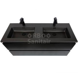 Badkamermeubel Vakna 120 cm Mat zwart bovenaanzicht