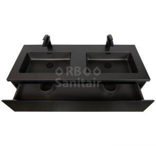 Badkamermeubel Vakna 120 cm mat zwart lade open