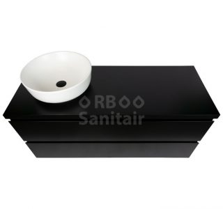 Badkamermeubel Vakna 120 cm mat zwart topblad bovenaanzicht