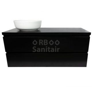 Badkamermeubel Vakna 120 cm Mat zwart topblad vooraanzicht