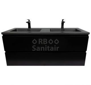 Badkamermeubel Vakna 120 cm mat zwart vooraanzicht