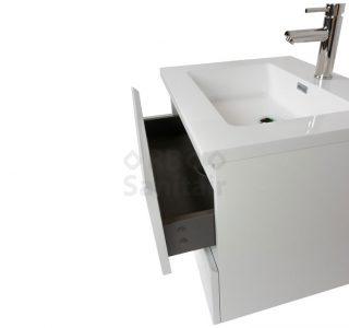 Badkamermeubel Vakna 60 cm Hoogglans wit lade detail
