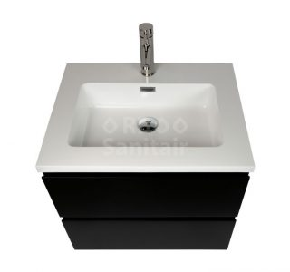 Badkamermeubel Vakna 60 cm mat zwart met hoogglans wit wastafel lade open