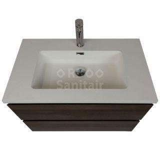 Badkamermeubel Vakna 80 cm donker eiken met wastafel mat wit bovenaanzicht