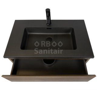 Badkamermeubel Vakna 80 cm donker eiken met wastafel mat zwart lade open