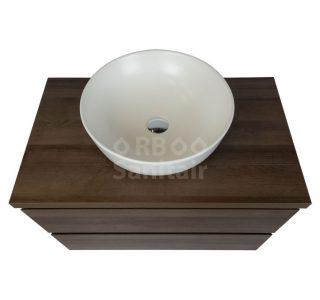 Badkamermeubel Vakna 80 cm donker eiken met topblad bovenaanzicht