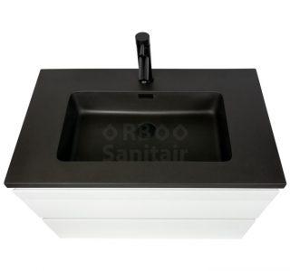 Badkamermeubel Vakna 80 cm hoogglans wit met wastafel mat zwart bovenaanzicht