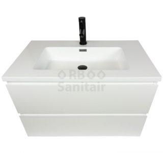 Badkamermeubel Vakna 80 cm hoogglans wit met wastafel hoogglans wit bovenaanzicht