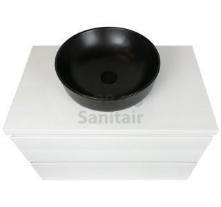 Badkamermeubel Vakna 80 cm hoogglans wit met topblad bovenaanzicht
