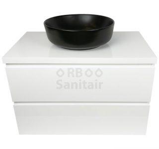Badkamermeubel Vakna 80 cm hoogglans wit met topblad vooraanzicht