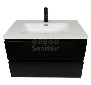 Badkamermeubel Vakna 80 cm mat zwart met wastafel hoogglans wit vooraanzicht