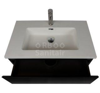 Badkamermeubel Vakna 80 cm mat zwart met wastafel mat wit lade open