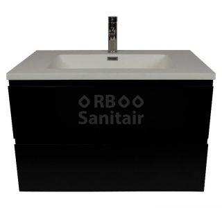 Badkamermeubel Vakna 80 cm mat zwart met wastafel mat wit vooraanzicht
