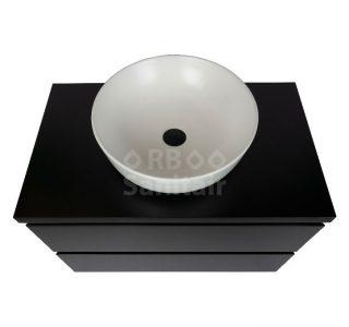 Badkamermeubel Vakna 80 cm mat zwart met topblad bovenaanzicht