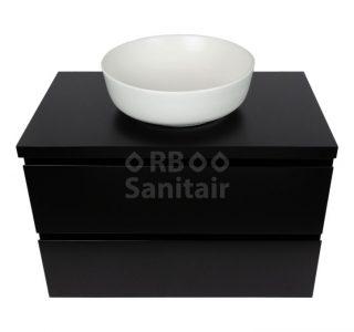 Badkamermeubel Vakna 80 cm mat zwart met topblad vooraanzicht